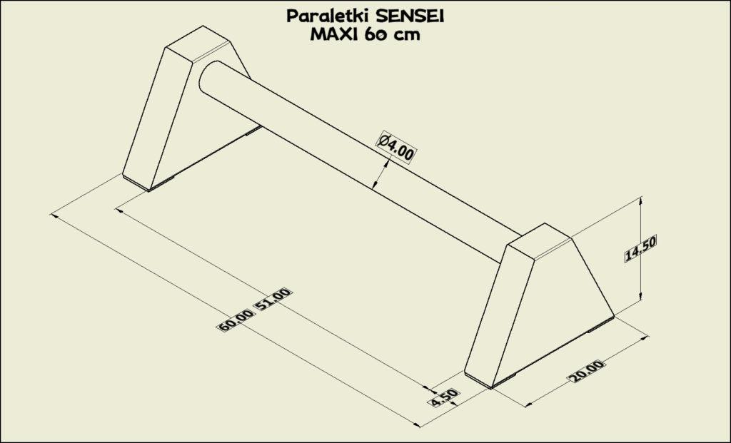 Paraletki Sensei MAXI 60 cm - wymiary