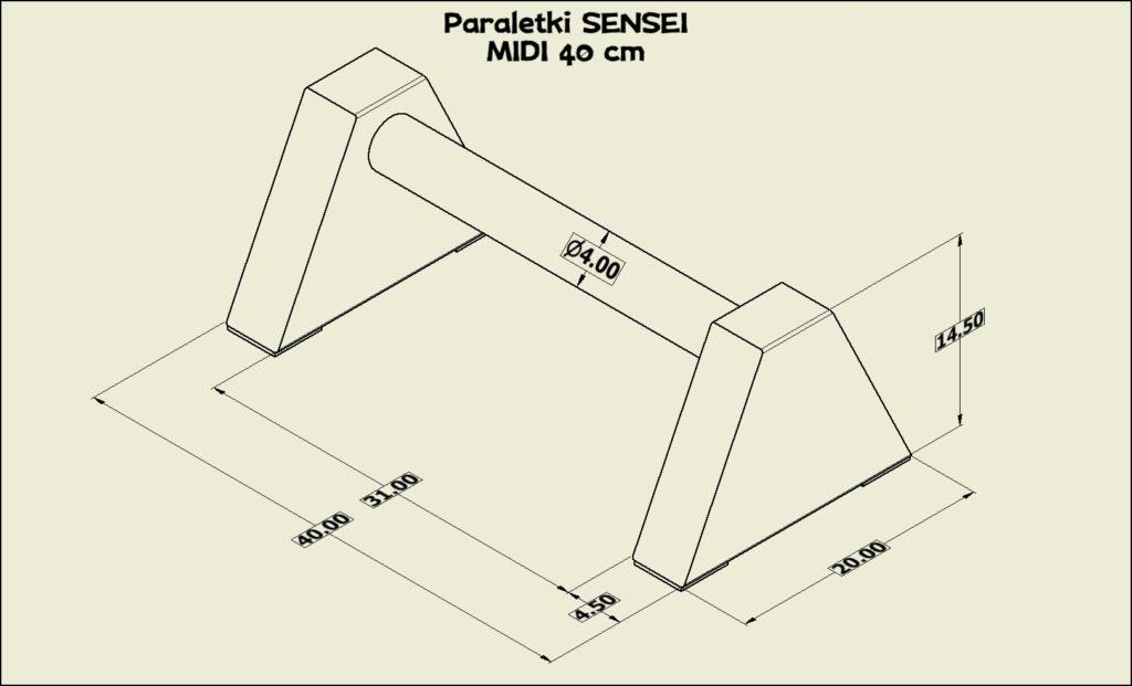 Paraletki Sensei MIDI 40 cm - wymiary