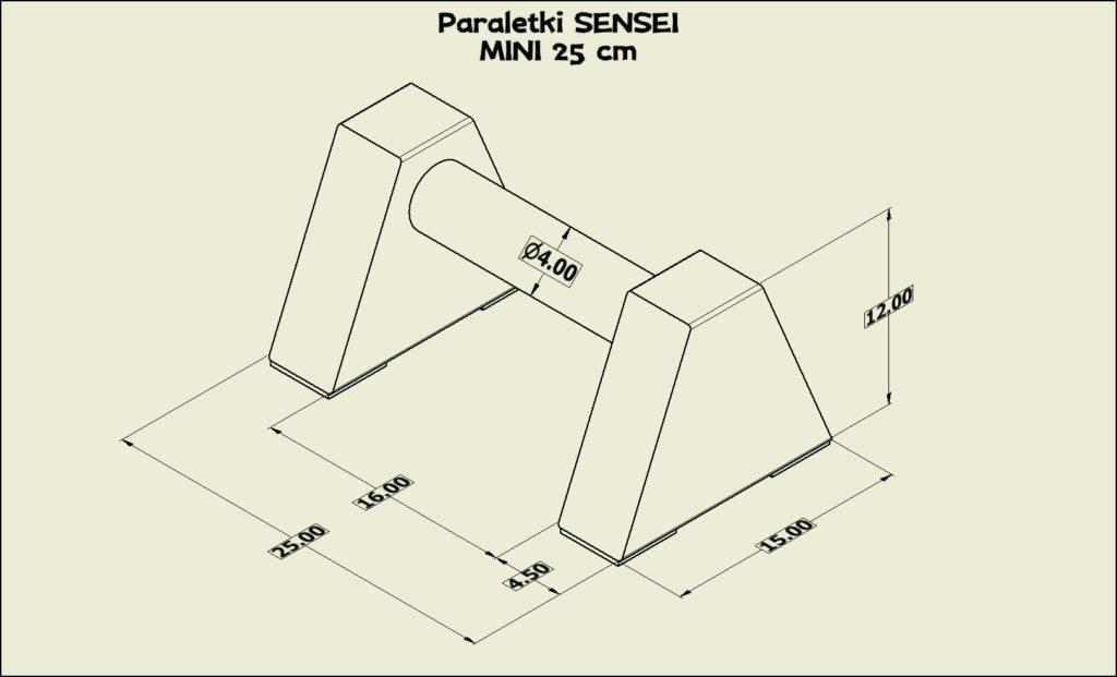 Paraletki Sensei MINI 25 cm - wymiary
