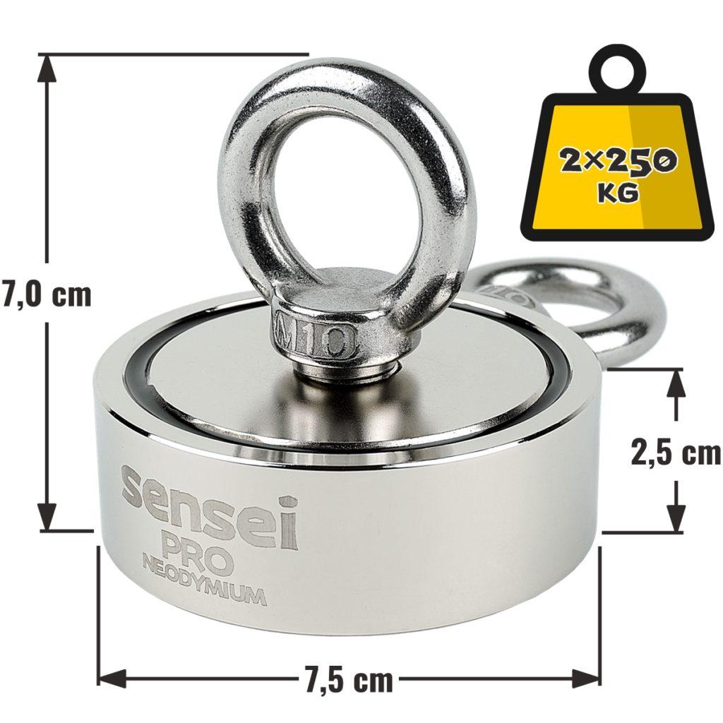 Magnes neodymowy Sensei 2×250 kg – wymiary