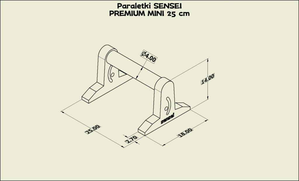 Paraletki Sensei PREMIUM MINI 25 cm – wymiary