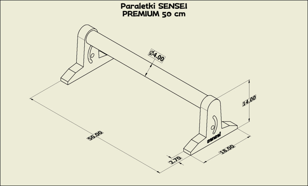 Paraletki Sensei PREMIUM 50 cm – wymiary