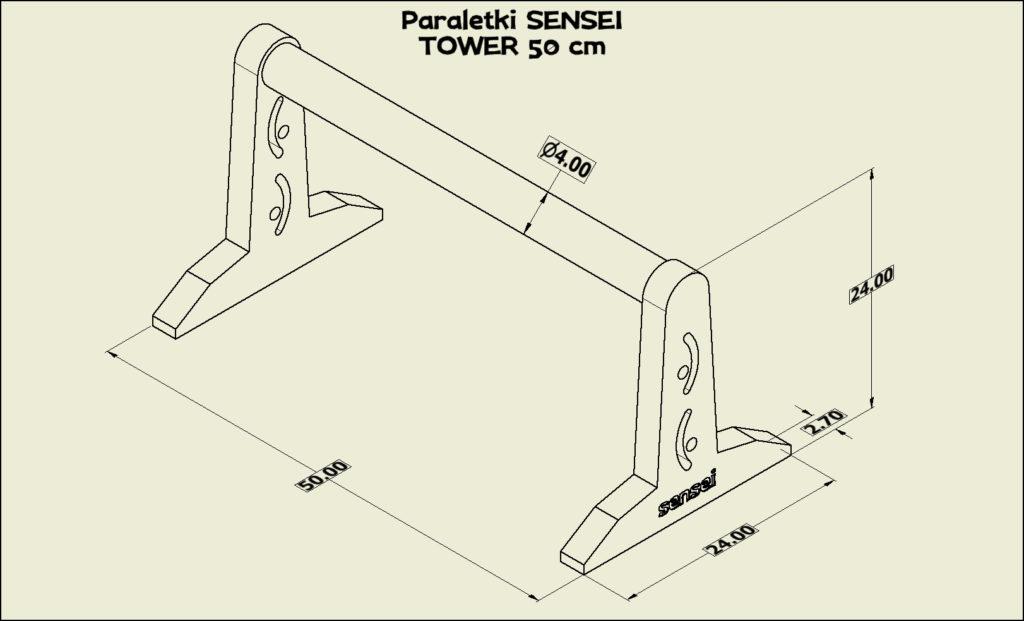 Paraletki Sensei TOWER 50 cm – wymiary