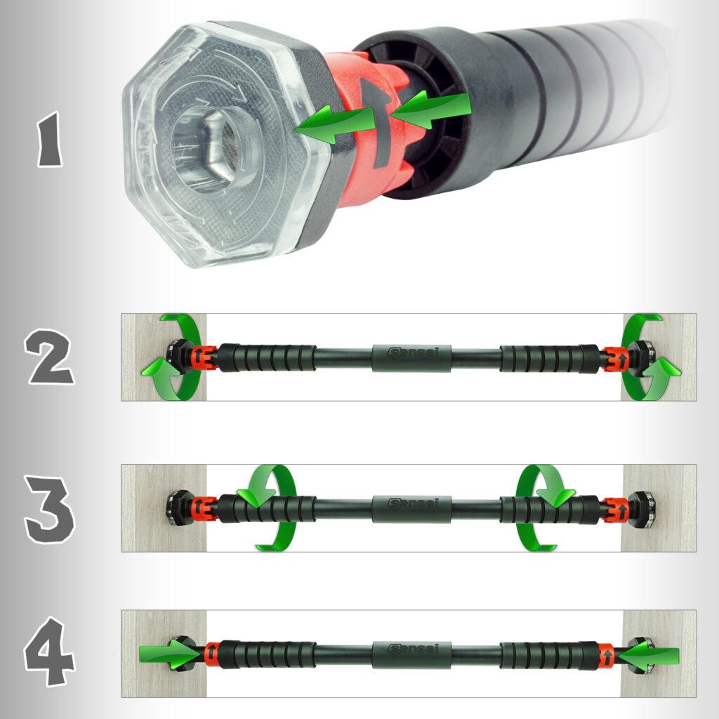 Drążek rozporowy do podciągania Sensei STICK – instrukcja montażu